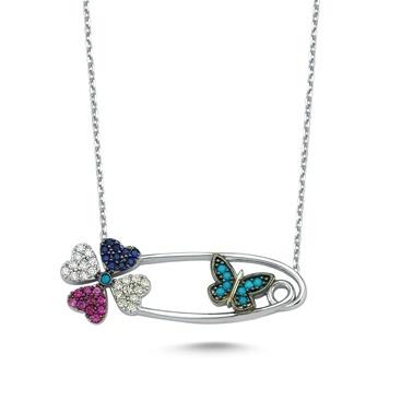Online Takı Gümüş Çengelli İğne Kolye Renkli